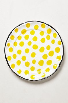"love the bright yellow - like eating sunshine! possible easy DYI: find white plates 11.5"" in diameter, oven proof, black and yellow food-safe ceramic paint"