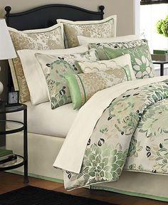Martha Stewart Collection Bedding, Jade Flowers