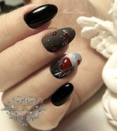 New Collections of Best Valentine's Day Nail Art Design red nail art designs; Holiday Nails, Christmas Nails, Black Nails, Pink Nails, Shellac Nails, Nail Art Coeur, Cute Nails, Pretty Nails, Valentine's Day Nail Designs