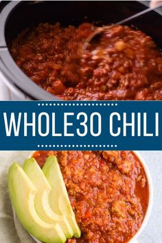 This Chili recipe is an delicious, healthy meal made in the crockpot or instant pot. Loaded with veggies- it's easy to make and yummy!This healthy chili recipe is great for serving over caulif Whole 30 Meal Plan, Whole 30 Diet, Paleo Whole 30, Whole 30 Meals, Whole Food Diet, Whole Food Recipes, Cooking Recipes, Healthy Recipes, Paleo Meals