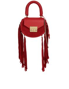 Salar Red Fringed Mimi Mini Bag MXN) ❤ liked on Polyvore featuring bags,  handbags, top handle handbags, red evening