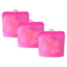 Reusable Food Storage Bags Set of 3 - Pink
