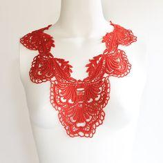 Orange V Shape Floral Lace Applique by felinusfabrics on Etsy