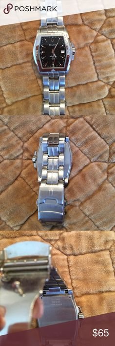Bulova Marine star 100 mm watch Men's Black face stainless steal watch Bulova Accessories Watches