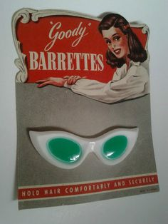 "Vintage Carded Barrette...""Cat Eye"" Sunglasses"