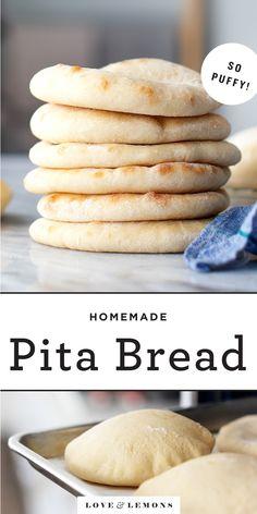 Lemon Recipes, Summer Recipes, Bread Recipes, Cooking Recipes, Pita Recipes, Healthy Recipes, Homemade Pita Bread, For Love And Lemons, Donuts