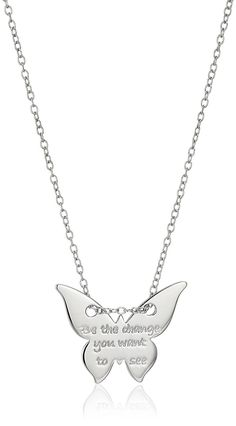 Rhodium Plated Sterling Silver Butterfly 'Be the Change You Want to See' Necklace, 16' 2' Extender >>> Click image for more details.