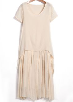 Shop Apricot Round Neck Short Sleeve Pleated Dress online. Sheinside offers Apricot Round Neck Short Sleeve Pleated Dress & more to fit your fashionable needs. Free Shipping Worldwide!