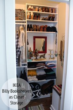 IKEA Billy Bookshelves as Custom Closet Storage. I actually have one of these in my closet. Bookshelf Closet, Bookshelf Organization, Ikea Billy Bookcase, Bookshelves, Bookshelf Ideas, Ikea Shelves, Ikea Closet, Closet Bedroom, Master Closet