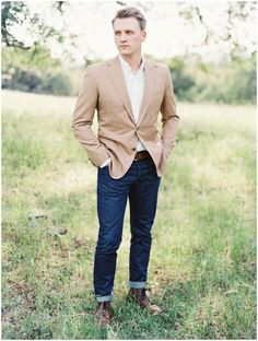 Guys: Pair a jacket with jeans for a great engagement look.