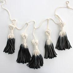 Dip Dyed Macrame Tassel Garland - Black #party #decor #make #diy #craft #decoration #kids #embellish