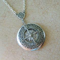 The ORIGINAL Wanderlust Adventurer Compass Locket in Silver-EXCLUSIVE DESIGN on Etsy, £17.01