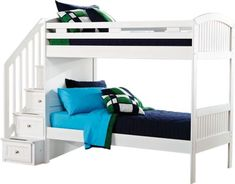Cottage Colors White Twin Twin Step Bunk Bed  . $777.00. 109L x 43W x 70H. Find affordable Bunk Beds for your home that will complement the rest of your furniture. #iSofa #roomstogo