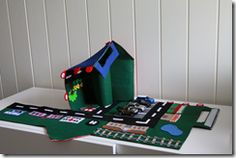 Awesome portable felt car playmat house (unfolds to reveal an entire city; stores play cars when not in use)