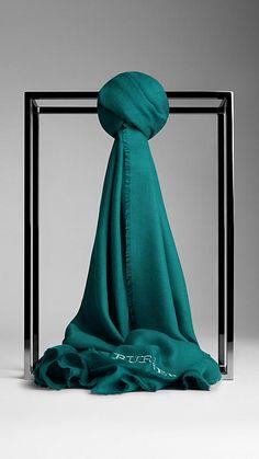 Dark cyan Embroidered Lightweight Cashmere Scarf - Image 1