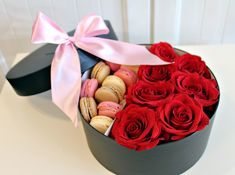 flowers in a box ~ boxed flowers Chicago ~ roses & macaroons ~ www.flowersbygeo.com ~ flowers delivery Chicago ~ luxury flowers