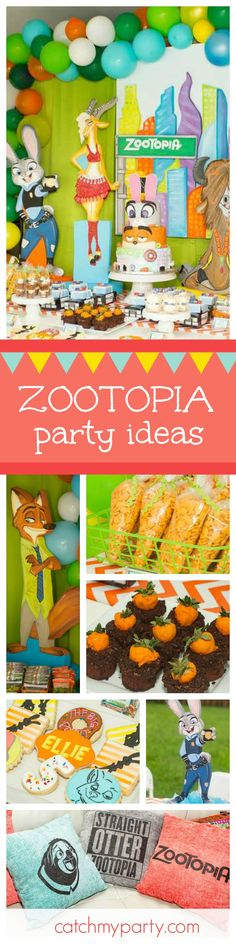 Zootropolis is such a fun movie and it's inspired this awesome party! Love the birthday cake and decorations! See more party ideas and share yours at CatchMyParty.com