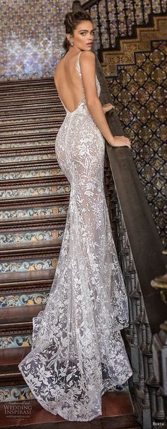 berta fall 2018 bridal sleeveless thin strap deep plunging sweetheart neckline elegant sexy fit and flare wedding dress open scoop back sweep train (10) bv -- Berta Fall 2018 Wedding Dresses