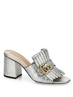 db7cd0faf78 Gucci - Marmont GG Kiltie Metallic Leather Block Heel Mules