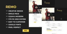 Remo - Single Page CV Template by EverestTheme Remo is a single page CV template designed in a clear and modern style. Template for creative people and agency, business, who are