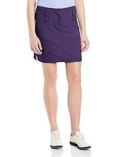 adidas Golf Women's Climacool 3-Stripes Skort, Dark Purple, 2