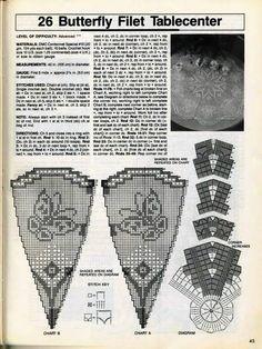Mantel Redondo, Crochet Squares, Crochet Doilies, Filet Crochet, Crochet Patterns, Lily, Butterfly, Notes, Chart