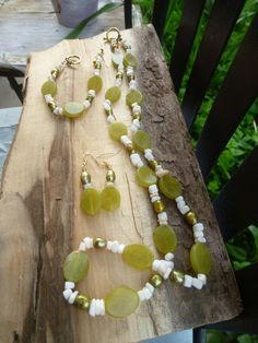 olive jade, pearl,mother of pearl set by DesisDesignsShop on Etsy