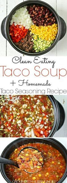 Simply the BEST Taco Soup - an easy, healthy, gluten free stove top meal that uses ground turkey (bison, beef, or venison) along with tons of clean eating vegetables and pantry items like canned beans. The option to use homemade ranch and taco seasoning Easy Healthy Dinners, Healthy Dinner Recipes, Mexican Food Recipes, Yummy Recipes, Whole Food Recipes, Diet Recipes, Cooking Recipes, Quick Recipes, Family Recipes