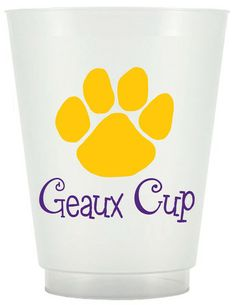 Tigers Geaux Cup - 16oz Frost Flex cups packaged in a sleeve of 25 and tied with ribbon. Printed with Tigers Geaux Cup and Paw Print on 2 sides. Perfect for weddings, house warming gifts, and more!