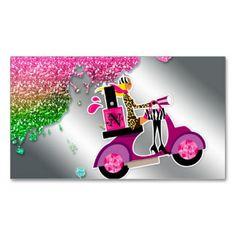 Nail Salon Scooter Girl Glitter Polish Swirls Business Cards