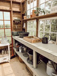 Outdoor Greenhouse, Backyard Greenhouse, Backyard Landscaping, Wood Greenhouse Plans, Greenhouse Tables, Old Window Greenhouse, Greenhouse Shelves, Greenhouse Ideas, Farmhouse Greenhouses