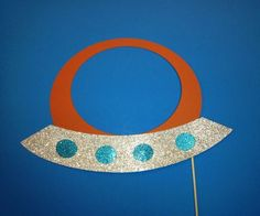 Photo Booth Props - 1 Piece Photo Booth Prop Set- Spaceship Photo Booth Prop with Glitter
