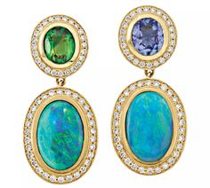 Terry Snider Jewelry ~ Cabochon deep aqua black opal earrings set with diamonds, tanzanite and tsavorite