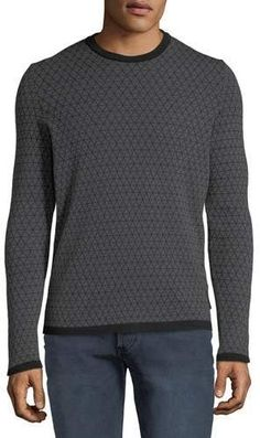 3b5ccefe50660b Emporio Armani Men s Geometric Jacquard Wool Sweater Armani Men