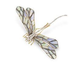 Art Nouveau opal and diamond dragonfly brooch (Christie's)  gorgeous!!!!!!!!!!!!!!!! Wish were white gold