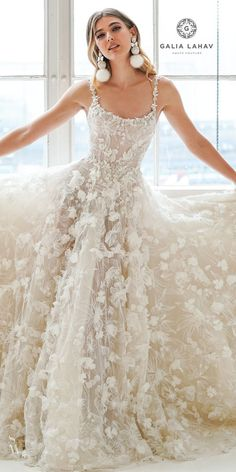 Floral Wedding Dresses That Are Incredibly Pretty ❤︎ Wedding planning ideas & inspiration. Wedding dresses, decor, and lots more. Dream Wedding Dresses, Bridal Dresses, Wedding Gowns, Maxi Dresses, Couture Wedding Dresses, Floral Wedding Dresses, Square Wedding Dress, Fashion Dresses, Stylish Gown