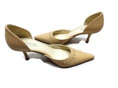 "Coach Womens Shoes Beige Cutouts 3"" Heels Leather Italy Size 8B #Coach #Pumps"