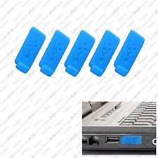 5 x Blue Color RUBBER SILICONE ANTI-DUST USB PLUG COVER STOPPER for PC Laptop