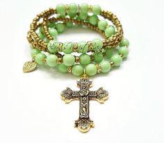 Mint Green Beaded Bracelet Cross Bracelet by RandRsWristCandy