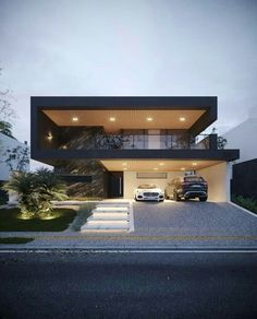 📣 Most Popular Modern Flat Roof House Design 56 - Haus Ideen Flat Roof House Designs, House Front Design, Modern House Design, Design Garage, Luxury Modern House, Luxury Houses, Facade House, House Roof, Modern Architecture House