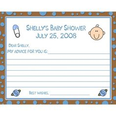 24 Baby Shower Advice Cards  -  Baby Blue and Chocolate Brown