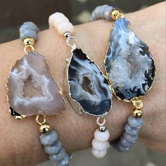 Stretchy bracelets choose from numbered photo. Agate Druzy sliced with gold and silver electroplated edge and grey glass beads. Fits small to medium. Will come in gift box