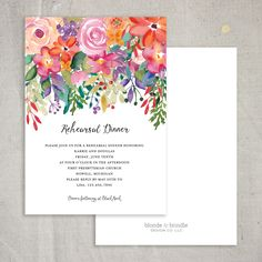 Beautiful watercolor flowers rehearsal dinner invitation! Completely customizabel to fit your event seamlessly!