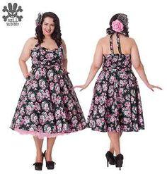 7108e2c5bd Hell Bunny Plus Size Leona Dress Floral Print Cotton Rockabilly Swing Retro  Prom