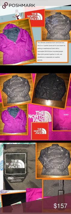 """NORTHFACE AUTHENTIC💗NWOT☃️HYVENT 3-IN-1  SIZE XL NORTHFACE 💗 AUTHENTIC """"NWOT"""" & HAS NOT BEEN WORN😉IT IS THE HYVENT 3-IN-1 HEAVYWEIGHT JACKET W/REMOVABLE DOWN INNER LINER😍A WOMENS SIZE """"XL"""" THE ACTUAL COLORS R A FUSHIA PINK/A GRAYISH BLACK REMOVABLE ZIP OUT DOWN LINER😘SUPER WARM, THE PINK OUTER SHELL CAN BE WORN ALONE, AS WELL AS THE DOWN LINER OR TOGETHER GIVING IT A VERSATILE 3 WAY WEAR👍🏻TOTALLY WATERPROOF💦&WINDPROOF🌬HAS MANY ADJUSTABLE TOGGLES, EVEN ON THE BRIMMED HOOD💕THIS…"""