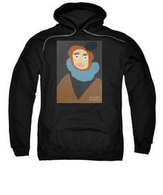Patrick Francis Black Designer Hooded Sweatshirt featuring the painting Portrait Of Maria Anna 2015 - After Diego Velazquez by Patrick Francis