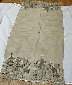Antique Ottoman Turkish Woven Linen Fabric Runner Temples Metal Silk Embroidery