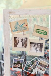 old photos of family weddings on framed chicken wire