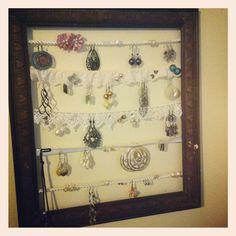 Vintage earring organiser lace ribbon jewlery