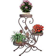 "Amazon.com : AISHN 3-Tiered Scroll Classic Plant Stand Decorative Metal Garden Patio Flower Pot Rack Display Shelf Holds 3-Flower Pot with Modern ""S"" Design (Bronze) : Patio, Lawn & Garden"